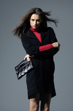 Fashion model on gray background Stock Photo