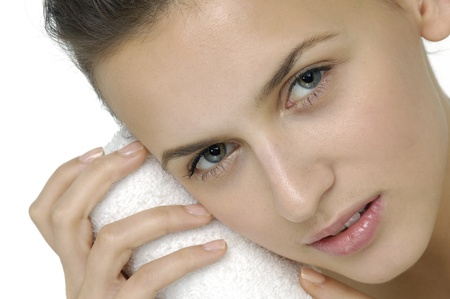 fashion model with her head on towel