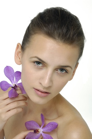 beauty with pink orchid Stock Photo