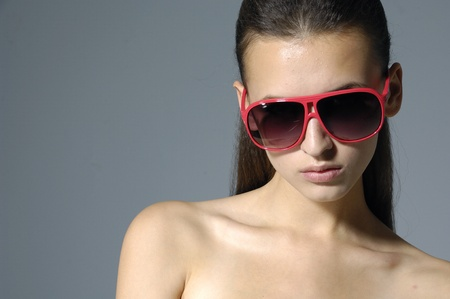 Fasion girl wearing the big sunglasses Stock Photo