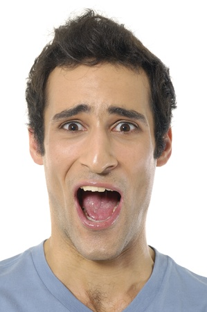 man mouth: Scream of shocked and scared young man