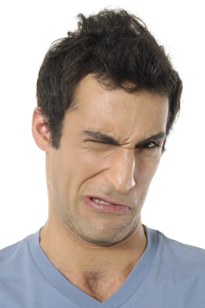 exaggerated: Young man with an exaggerated sad face Stock Photo