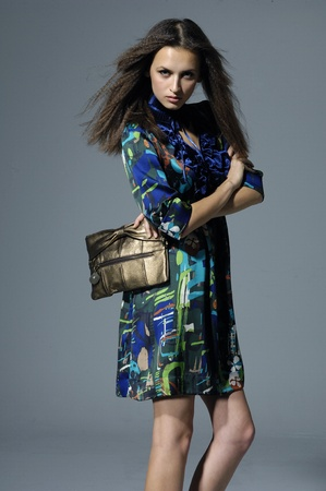 Vogue style of fashion girl holding little purse Stock Photo