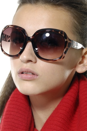 beautiful girl wears sunglasses photo