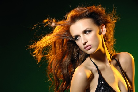 beautiful girl with funning hairs  Stock Photo