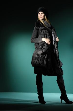 fashion model on blue light background Stock Photo