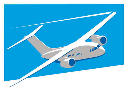 Aircraft. On a blue background a flying passenger airplane is. Illustration