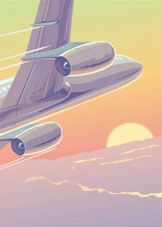 After clouds. A reactive airliner dissects a transcendental height. Illustration