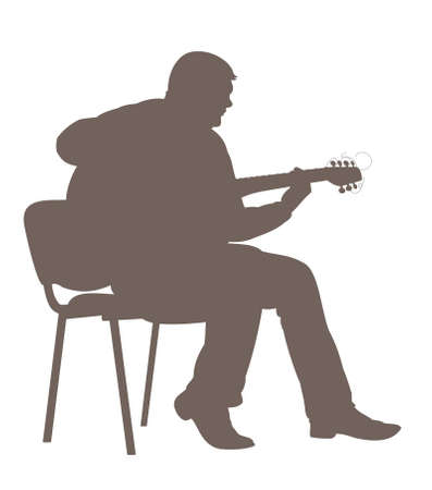 guy playing guitar: Guitarist. The silhouette of man which sitting on a chair plays the guitar.