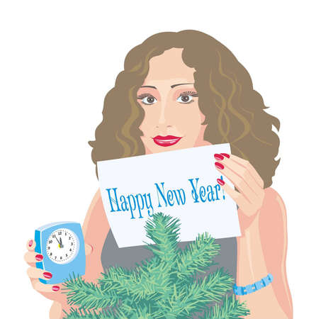 Happy New Year! A girl holds a paper sheet with congratulatory inscription.