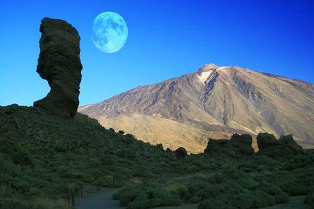 Mount Teide Moon Banque d'images