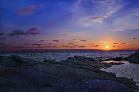 �ber Wasser: Cornish K�ste Sonnenuntergang
