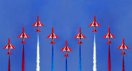 high flown: Red Arrow Display Formation Stock Photo