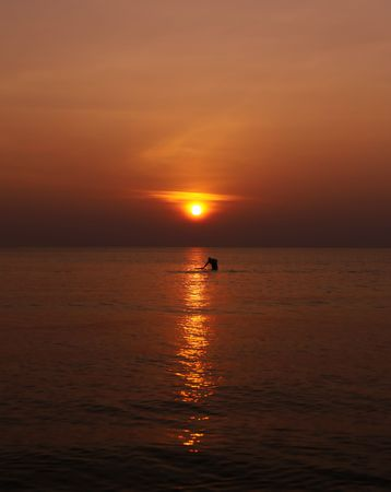 fisher man: Fisher Man Sunset Stock Photo