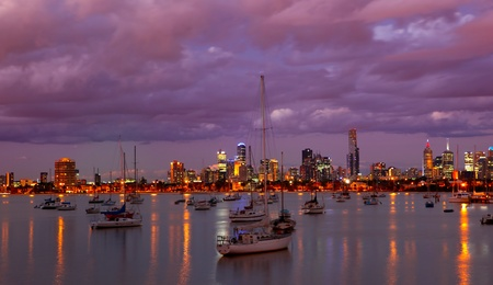 habour: Melbourne Skyline St Kilda Harbour Stock Photo