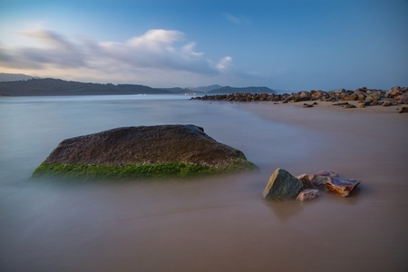 A rocky coastline beach on the south China sea in Vung Lam Bay Vietnam.