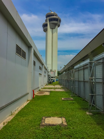 Vietnam Ho Chi Minh international airport control tower new construction 70 meter tall air tower. Editorial
