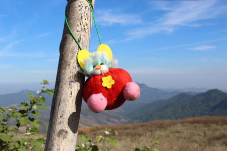 adorable doll hanging on blue sky and moutain background