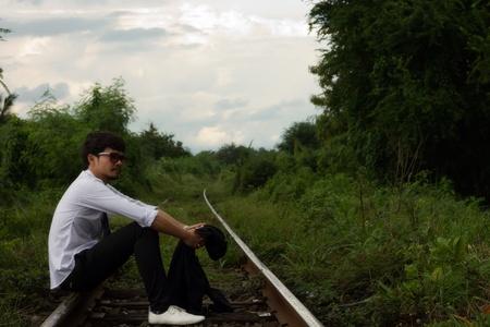 a businessman walking on a railway Stock Photo - 10297533