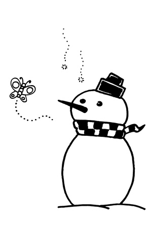 a free hand cartoon sketch of snowman symbol of winter photo