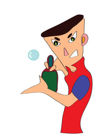 an illustration of table tennis player Vector