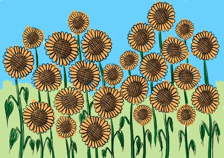 a painting of sunflower field for background or wall paper