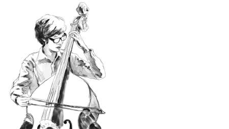 a free hand rough sketch of a musician playing his double bass instrument photo