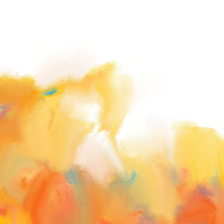 orange abstract painting with white space