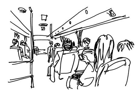 bus passenger people life in city illustration
