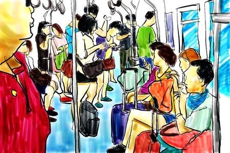 train passenger people life in city illustration