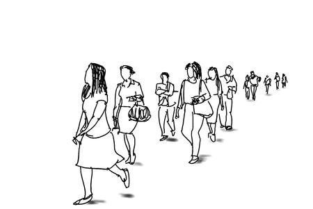 people life in city illustration Stock fotó