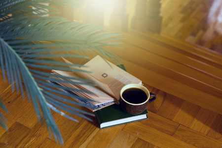 Wooden steps coffee and books houseplant. A place for reading and relaxing. Rustic style interior Stock Photo