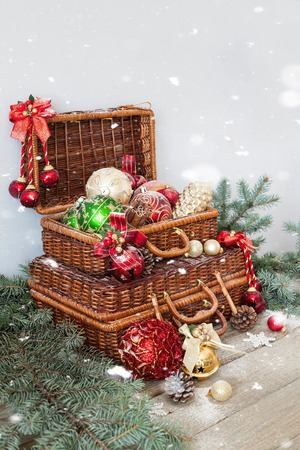 Christmas Composition. Christmas Decorations In Wicker Baskets ...