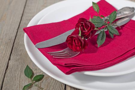Serving Valentine's day on wooden background