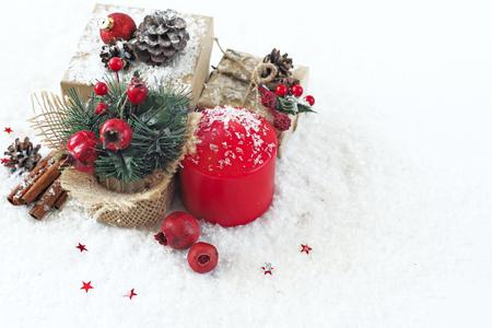 Christmas decoration with candles Foto de archivo