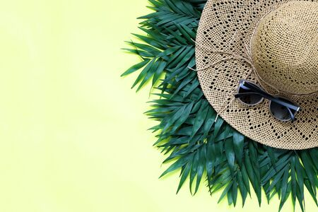 Summer, tropical yellow background with a straw hat, coconut. Leaves of palm tree top view