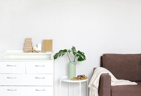 Interior of the living room. A chest of drawers, a coffee table with a vase and monstera leaves.