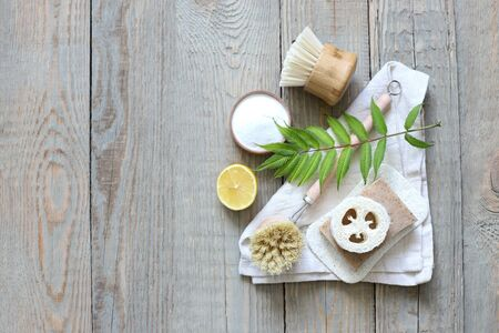 Eco-friendly brushes made from bamboo and cloth from plants.