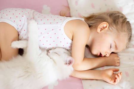 A little girl sleeps in a crib with pink bed linen with clouds, a white cat in the nursery. Quiet hour, top view.