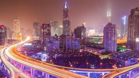 overbridge: night scene in Shanghai Editorial