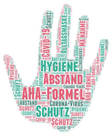 Word cloud on the AHA hygiene rule against the spread: distance, hygiene, everyday mask