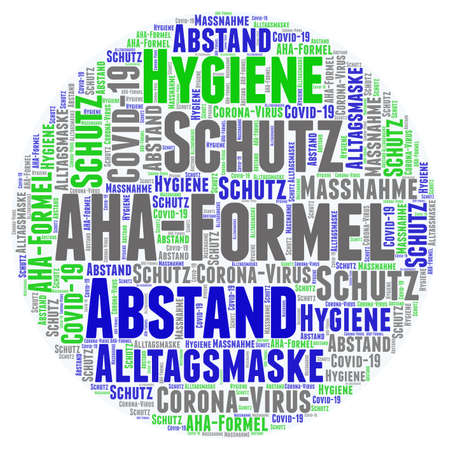 Word cloud on the AHA hygiene rule against the spread of Covid-19: distance, hygiene, everyday mask Stock Photo