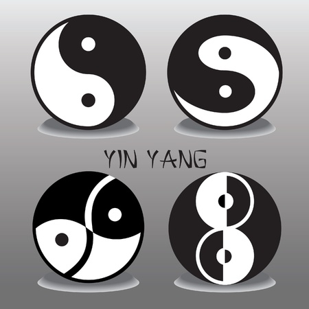 traditional chinese medicine: set of black and white Ying Yang
