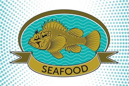 salmon leaping: fish label Illustration