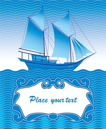 caravelle: saluant avec un navire Illustration