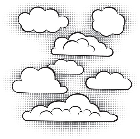 halftones: vector set of atmospheric clouds with halftones Illustration