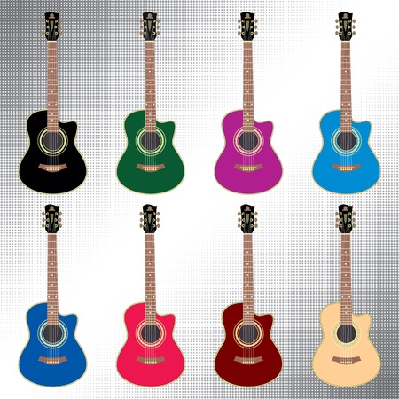 classical guitar: vector set of colored acoustic guitar for design Illustration