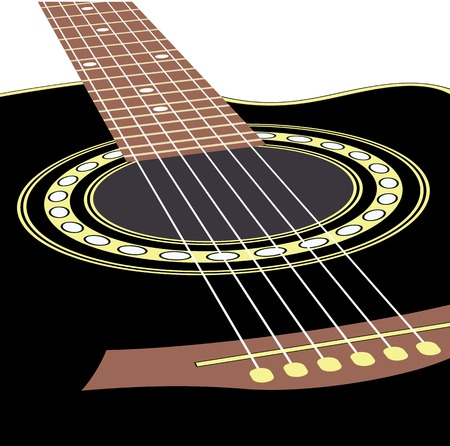 classical guitar: background with acoustic guitar Illustration