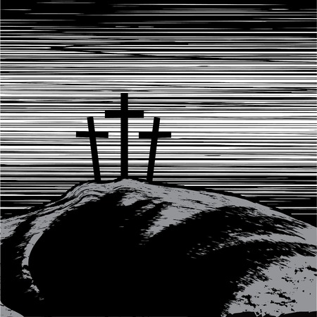 sinner: vector illustration with mountain with three crosses