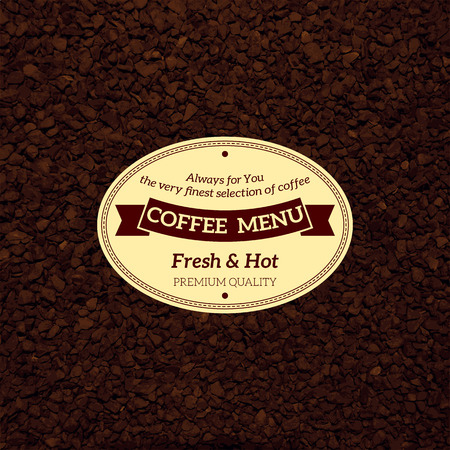instant coffee: vector bekgraund coffee menu with scattered coffee and label